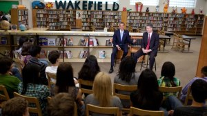 President Obama and Secretary Duncan talk with 9th graders at Wakefield High School. White House Photo, Pete Souza, 9/8/09